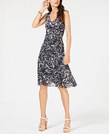 MICHAEL Michael Kors Petite Printed Fit & Flare Dress