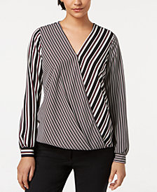Alfani Striped Surplice Top, Created for Macy's
