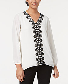 Alfani Lace-Trim Tunic, Created for Macy's