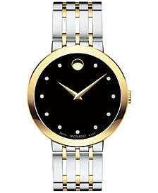 First at Macy's! Movado Men's Swiss Esperanza Diamond-Accent Two-Tone Stainless Steel Bracelet Watch 39mm