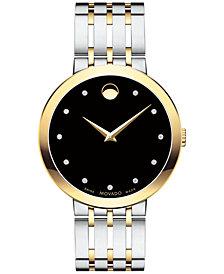 First at Macy's! Movado Men's Swiss Esperanza Diamond-Accent Two-Tone Stainless Steel Bracelet Watch 39mm