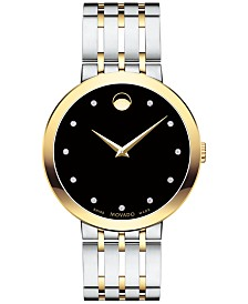 Movado Men's Swiss Esperanza Diamond-Accent Two-Tone Stainless Steel Bracelet Watch 39mm