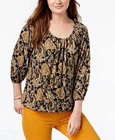 MICHAEL Michael Kors Printed Peasant Top, a Macy's Exclusive Style