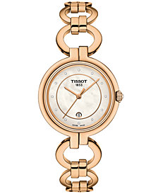 Tissot Women's Swiss T-Lady Flamingo Rose Gold-Tone Stainless Steel Bracelet Watch 26mm