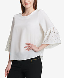 Calvin Klein Pearl-Trim Bell-Sleeve Top
