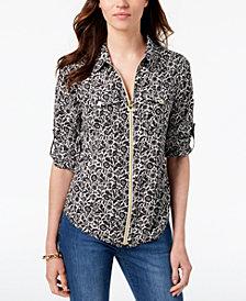 MICHAEL Michael Kors Lock Zip-Front Shirt