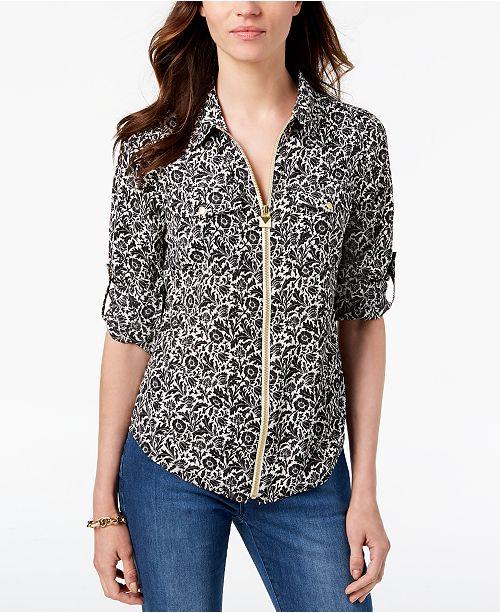 d09597b7671 Michael Kors Lock Zip-Front Shirt