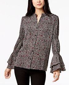 MICHAEL Michael Kors Printed Flared-Sleeve Button-Front Shirt