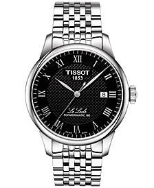 Men's Swiss T-Classic Le Locle Powermatic 80 Gray Stainless Steel Bracelet Watch 39.3mm
