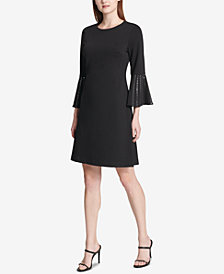 Calvin Klein Embellished Bell-Sleeve Shift Dress