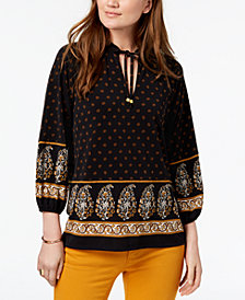 MICHAEL Michael Kors Mixed-Print Peasant Top, In Regular & Petite Sizes
