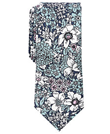Bar III Men's Illustrated Floral Skinny Tie, Created for Macy's