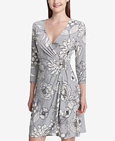 Calvin Klein Hardware Faux-Wrap Dress