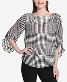 Calvin Klein Printed Chiffon Ruffle-Sleeve Top
