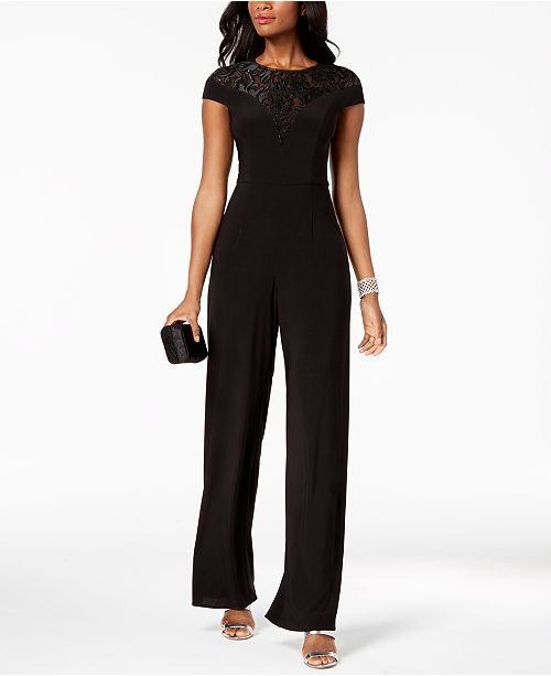 Petite Adrianna Jumpsuit amp; Black Regular Jersey Sequined Papell SvqwnrvRY