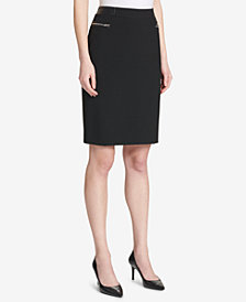 Calvin Klein Faux-Leather-Trim Pencil Skirt