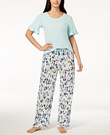 HUE® Solid Flounce Pajama Top & Printed Pajama Pants Sleep Separates