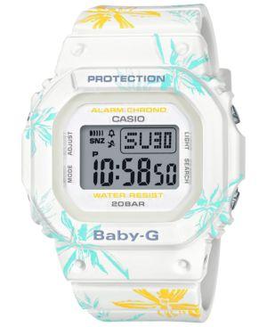 BABY-G Women'S Digital White Floral Resin Strap Watch 40Mm
