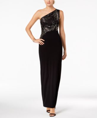Adrianna Papell Beaded One Shoulder Gown