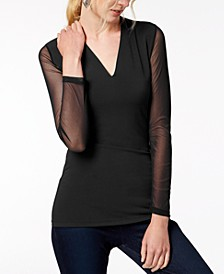 INC Illusion-Sleeve V-Neck Blouse, Created for Macy's
