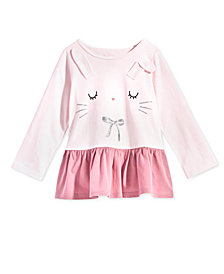 First Impressions Baby Girls Bunny-Print Cotton Peplum Tunic, Created for Macy's