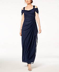 Alex Evenings Petite Cold-Shoulder Draped Metallic Gown
