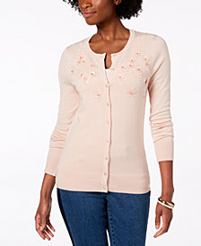Charter Club Embellished Button-Down Cardigan, Created for Macy's