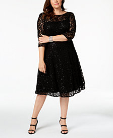 SL Fashions Plus Size Sequined Lace A-Line Dress