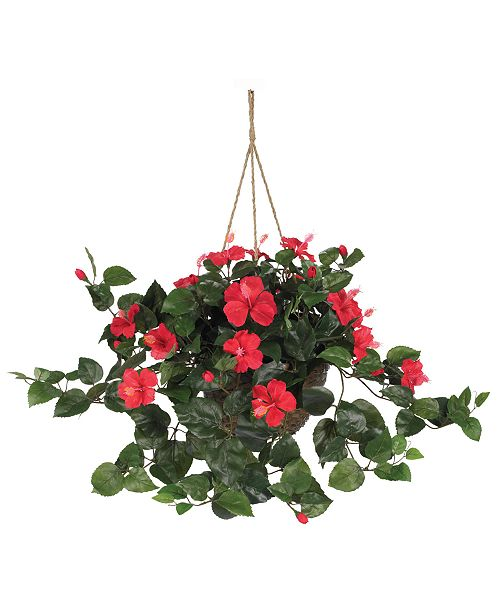 Nearly Natural Hibiscus Artificial Plant Hanging Basket Reviews