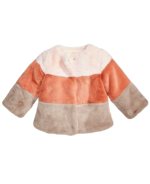 First Impressions Baby Girls Colorblocked FauxFur Coat Created for Macys