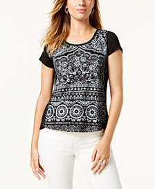 Style & Co Printed Dolphin-Hem T-Shirt, Created for Macy's