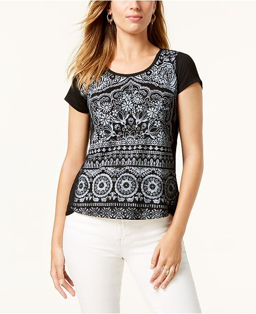 Style & Co Petite Printed T-Shirt, Created for Macy's