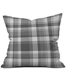 Deny Designs Lisa Argyropoulos Dark Gray Plaid Throw Pillow