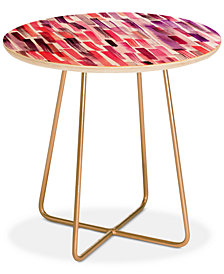 Deny Designs Ninola Design Red Modern Brushstrokes Painting Stripes Round Side Table