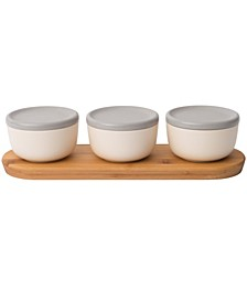 Leo Collection 6-Pc. Covered Bowl Set with Bamboo Tray