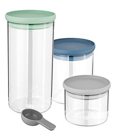Leo Collection 3-Pc. Glass Food Storage Container Set