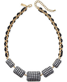 "I.N.C. Gold-Tone Tweed Link Cord Statement Necklace, 18-1/2"" + 3"" extender, Created for Macy's"