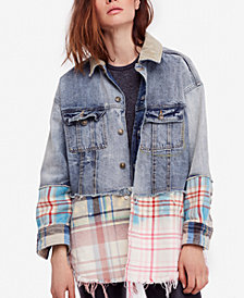 Free People Sirius Cotton Plaid-Contrast Denim Jacket