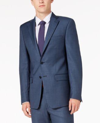 Men's Slim-Fit Stretch Blue Neat Suit Jacket