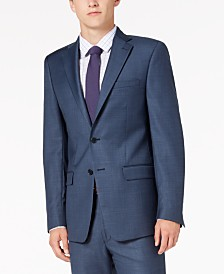 Calvin Klein Men's Slim-Fit Stretch Blue Neat Suit Jacket