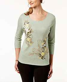 Karen Scott Petite Floral-Embroidered Top, Created for Macy's