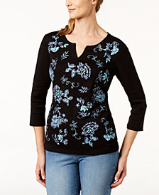 Karen Scott Petite Cotton Sequined Split-Neck Top, Created for Macy's