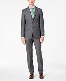 Men's Slim-Fit Stretch Gray Sharkskin Suit Separates