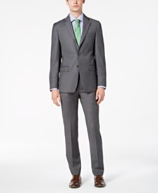 Calvin Klein Men's Slim-Fit Stretch Gray Sharkskin Suit Separates