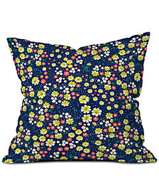 Deny Designs Joy Laforme Wild Floral Ditsy In Navy Throw Pillow
