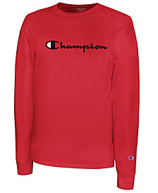 Champion Men's Script-Logo Long Sleeve Tshirt