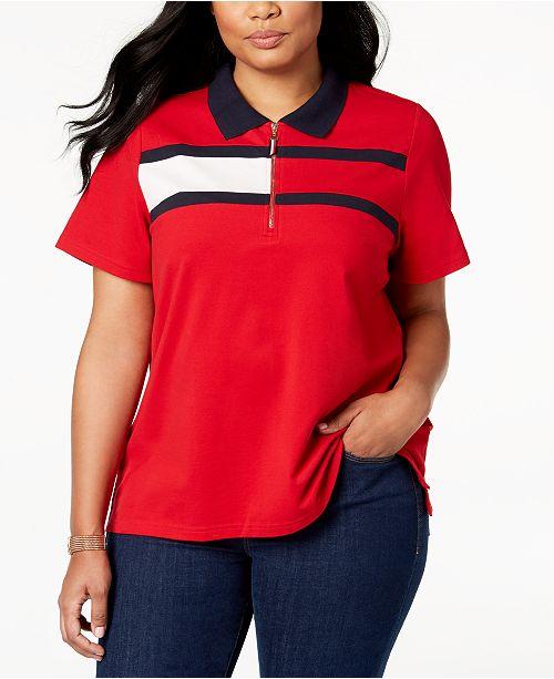 Tommy Hilfiger Plus Size Flag Logo Polo Shirt Created For Macys