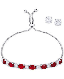 Simulated Ruby Slider Bracelet & Cubic Zirconia Stud Earrings Set In Fine Silver-Plate, July Birthstone