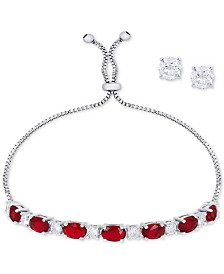 Simulated Ruby Slider Bracelet & Cubic Zirconia Stud Earrings Set In Fine Silver-Plate, July Birthstone
