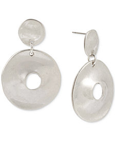 Robert Lee Morris Soho Silver-Tone Hammered Disc Drop Earrings